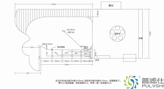 南海朱总别墅景观水池施工图