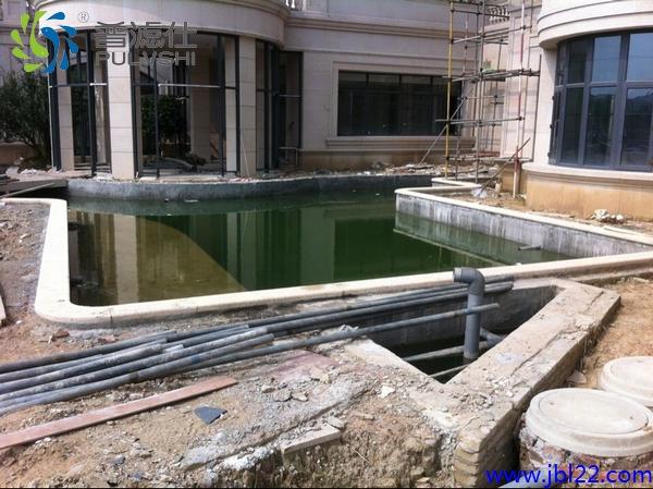 碧桂园郑总新居景观水处理工程接近尾声,正泡池