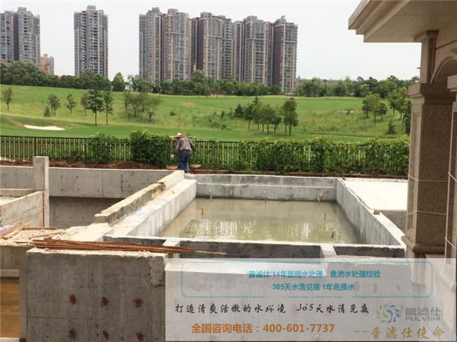 湖南株洲杨先生别墅旺财风水鱼池施工现场
